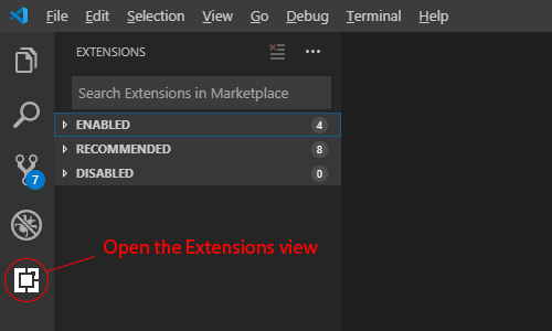 Open the Extensions view
